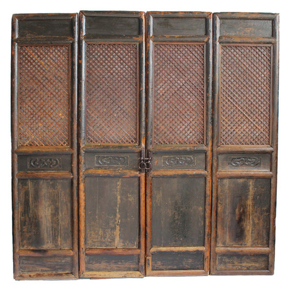 Consigned Antique Chinese Screen Doors - Consigned Antique Chinese Screen Doors - Asian - Screen Doors - By