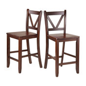 "Winsome Wood Victor 2 Piece 24"" V Back Counter Stools"