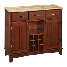 Home Styles Furniture Large Cherry Base And Natural Wood Top Buffet