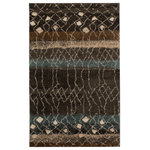 Mohawk - Mohawk Home Adobe Area Rug, 8'x10' - A neutral tribal inspired abstract lattice and diamond motif creates a layer of dimension over the distressed blue, brown, tan and grey stripes of the Mohawk Home Adobe Area Rug. Create contemporary charisma anywhere with this modern shag style. Available in runners, rounds, scatters, 5x8, 8x10, and other popular sizes, this area rug is ideal for adding warmth to entryways, kitchens, living rooms, offices, bedrooms and more. This luxuriously thick shag style is woven with premium polypropylene yarn and durable latex backing. Sumptuously soft to the touch, PermaStrand polypropylene is renowned for its inherent moisture, fade, and stain resistance qualities, making it an ideal choice for high traffic areas and families with kids and pets.
