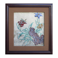 Chinese Ceramic Dimensional flower Scenery Wall Framed Art