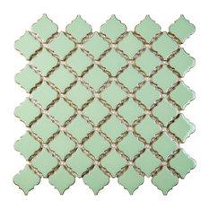 "Bay - 12.38""x12.5"" Mykonos Porcelain Mosaic Floor/Wall Tile, Mint - Wall and Floor Tile"