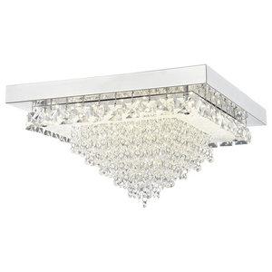 Auden LED Large Square Semi-Flush Ceiling Light, Polished Chrome