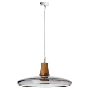 Industrial Industrial Glass and Oak Pendant Lamp, Anthracite