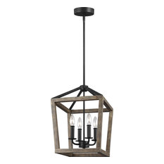 "Gannet 12"" 4-Light Chandelier, Weathered Oak Wood, Antique Forged"