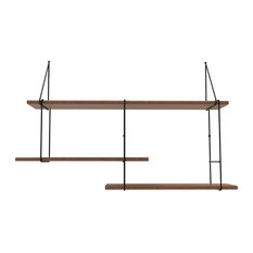 Link Shelving System, Walnut and Black