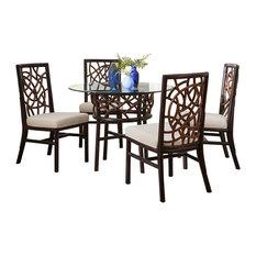 Panama Jack Sunroom - Panama Jack Trinidad Dining Set With Cushions, Kalani Oyster - Dining Sets