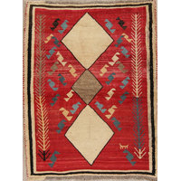 """Consigned, Oriental Persian Design Hand-Knotted Gabbeh Area Rug, Red, 4'6""""X3'7"""""""