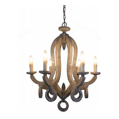 Shabby Chic Candle-style 6-Light Wooden Chandelier