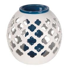 Quatrefoil Ceramic Vase, Blue and White, Large
