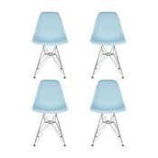 Set of 4 DSR Light Blue Mid Century Modern Dining Shell Chair, Steel Eiffel Le