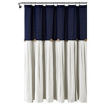 """TRIANGLE HOME FASHIONS - Linen Button Shower Curtain Navy/White 72x72 - Add the elegance of linen to your bathroom with this chic shower curtain. Color Blocking is always in style and we love the details of pleats and buttons. The slight weave variations are authentic to this natural fiber blend and create a relaxed look1 Shower Curtain: 72""""Hx72""""W"""
