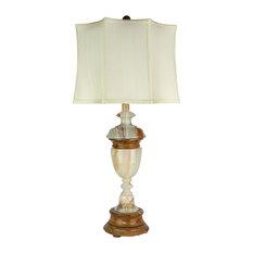 "32.5"" Tall Marble Table Lamp ""Sirenium Terra"", Genuine Onyx"