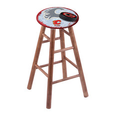 Maple Bar Stool Medium Finish With Calgary Flames Seat 30-inch