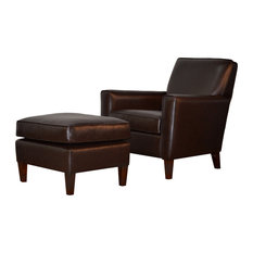 For Now Designs - Genuine Espresso Brown Leather Accent Chair - Armchairs and Accent Chairs