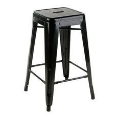 "Ajax 24"" Contemporary Steel Tolix-Style Barstool - Black"