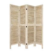 5 1/2' Tall Classic Venetian Room Divder, Burnt White, 4 Panel