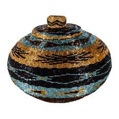 Melon Medium Chic Turquoise Dream Hand-Woven Rattan Basket