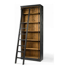 Ian Bookcase With Ladder Distressed Black