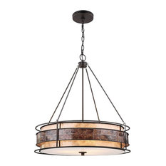 Tremont 3 Light Chandelier in Tiffany Bronze with Tan and Brown Mica