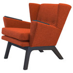 "Lewis Interiors - Mid Century Modern Handcrafted Lounge Accent Wingback Chair Rust Orange, Dark Wo - One of our most popular mid century modern chairs for sale, our Short Back Lounger (SBL) mid century modern lounge chair is the streamlined club-version of our famous Lewis Tall Lounger. This low back, sleek chair has the same base dimensions as our LTL mid century modern lounge chair, but it features a 11"" shorter back. This design gives your room space the retro lounge feel you're looking for.  It also looks absolutely fabulous paired with our ottoman! Don't pay for a mass manufactured, low quality mid century modern lounge chair when you can have custom, handcrafted SBL mid century modern chairs made to your exact specifications!"