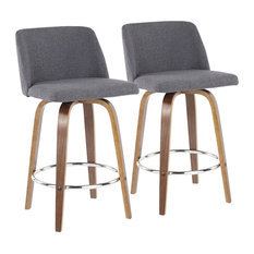 Toriano Mid-Century Modern Counter Stool Walnut And Blue Fabric Set Of 2