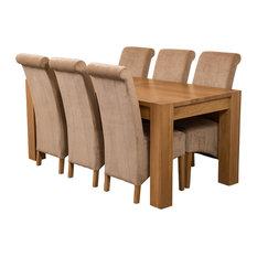 Kuba Chunky Oak Dining Table With 6 Montana Chairs, 180 cm, Beige Velvet Effect