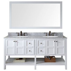 """Winterfell 72"""" Double Vanity White With Marble Top and Round Sink With Mirror"""