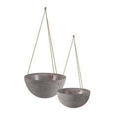 Cement Round Pot With Rope Hanger In Concrete Finish, Set Of 2, Gray