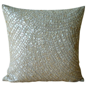 Glazed Pearls, Beige Cotton Linen 45x45 Cushion Covers Decorative
