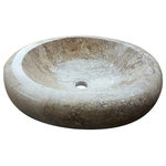 TashMart - Oval Natural Stone Vessel Sink, Noce Travertine - The Oval Natural Vessel Sink is made from one large piece natural stone. This one of a kind sink will be the distinguishing factor in your bathroom project.
