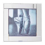 Square Mirror Picture Frame With Glittered Ballerina Shoes Illustration