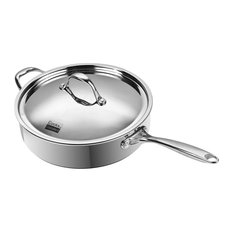 "Multi-Ply Clad 10.5"" Deep Saute Pan with Lid, 4 QT, Stainless Steel"