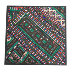 "Indian Patchwork Banjara Green Pillow Sham/Tapestry, 18""x18"""