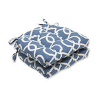Lattice Damask Reversible Chair Pad, Set of 2, Yacht