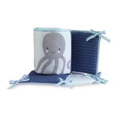Lambs & Ivy Oceania 4-Piece Crib Bumper - Blue, Gray, Aquatic, Animals