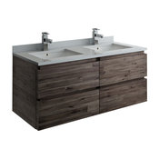 """Formosa Wall Hung Double Sink Modern Bathroom Cabinet With Top & Sinks, 48"""""""