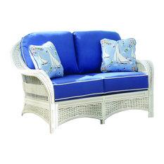 Regatta Love Seat in White, Callista-Stripe-Delft Fabric