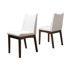 Gertrude Fabric And Wood Finish Mid Century Modern Dining Chairs Set Of 2