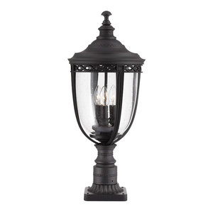 3-Light Outdoor Pedestal Light, Large, Black