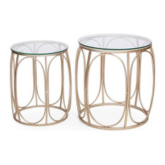 2-Piece Nesting Side Table Set With Glass Top And Metal Framework Gold Design