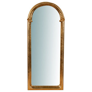 Rounded Wooden Wall Mirror, Antique Gold Leaf, 35x85 cm
