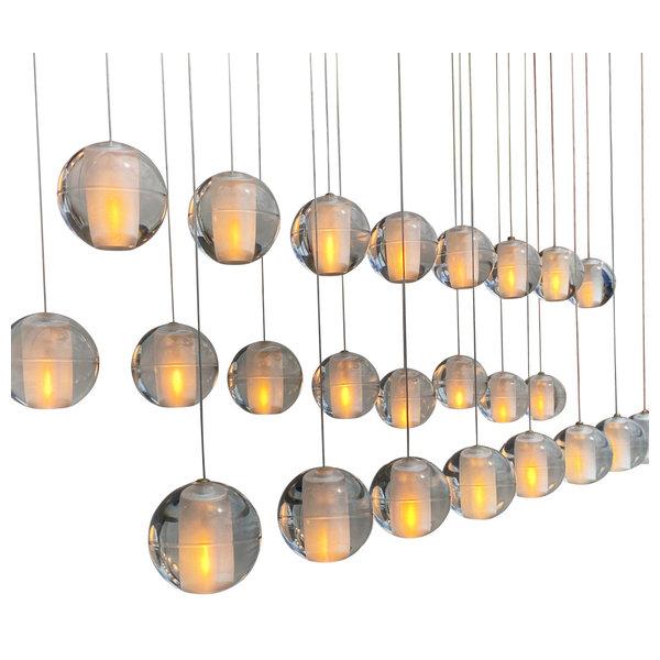Bistro Clear Glass Globe Chandelier, 12 Light Black Finish
