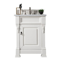 "Brookfield 26"" Cottage White Single Vanity w/ 4cm Carrara White Marble Top"
