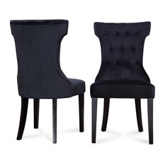 Parsons Elegant Tufted Upholstered Dining Chair, Set of 2, Black