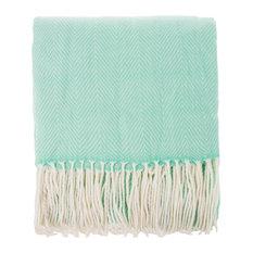 """Herringbone Fringed Throw Blanket - 50""""W x 60""""L, Aqua"""