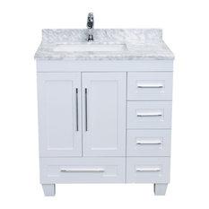 "Bay - Rosa Single Bathroom Vanity With Carrera Marble Countertop, White, 30"" - Bathroom Vanities and Sink Consoles"