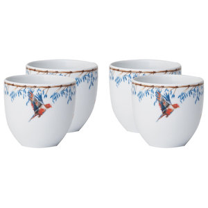 Bamboo and Singing Birds Coffee Cups, Set of 4