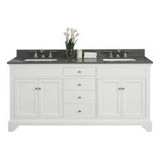 """Fairmont Designs Framingham 72.5"""" Double Vanity Polar White Base Cabinet Only"""