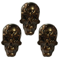 3 Pcs Dead Face Resin Skull Bone Knobs Cool Bronze Drawer Cupboard Knobs